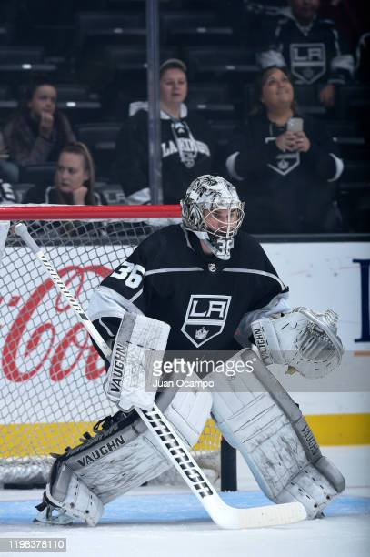 Jack Campbell of the Los Angeles Kings looks on during warm ups against the Dallas Stars at STAPLES Center on January 8 2019 in Los Angeles California