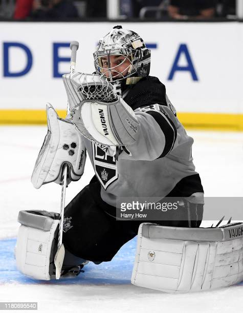 Jack Campbell of the Los Angeles Kings makes a glove save during the third period in a 74 win over the Nashville Predators at Staples Center on...