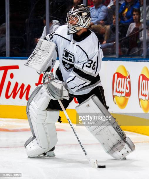 Jack Campbell of the Los Angeles Kings plays the puck against the Toronto Maple Leafs during the third period at the Scotiabank Arena on October 15...