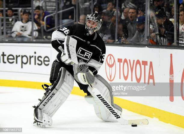 Jack Campbell of the Los Angeles Kings plays the puck along the boards during the game against the Minnesota Wild at Staples Center on November 8...