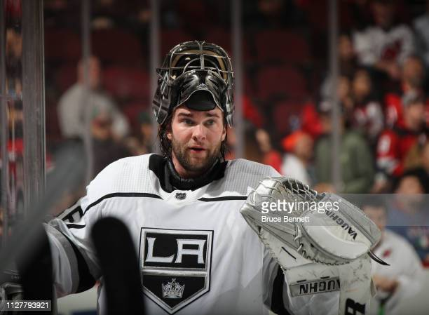 Jack Campbell of the Los Angeles Kings skates against the New Jersey Devils at the Prudential Center on February 05 2019 in Newark New Jersey The...