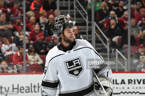 Jack Campbell of the Los Angeles Kings skates to the bench during a stop in play against the Arizona Coyotes at Gila River Arena on April 2 2019 in...