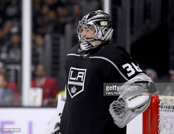Jack Campbell of the Los Angeles Kings smiles before a faceoff during a 41 win over the Columbus Blue Jackets at Staples Center on November 3 2018 in...