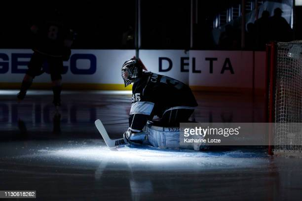 Jack Campbell of the Los Angeles Kings stretches before a game against the Washington Capitals at Staples Center on February 18 2019 in Los Angeles...