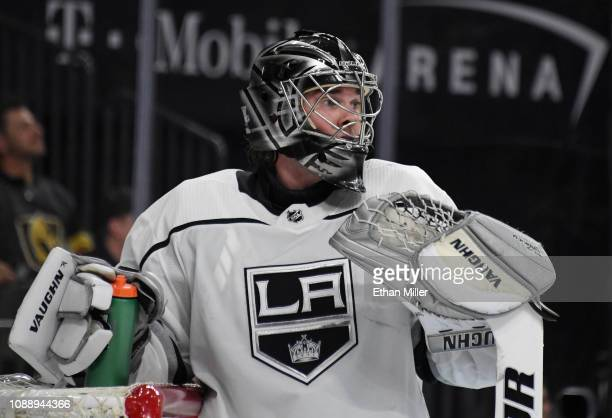 Jack Campbell of the Los Angeles Kings takes a break during a stop in play in the second period of a game against the Vegas Golden Knights at TMobile...