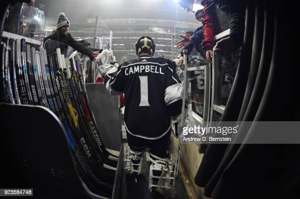 Jack Campbell of the Los Angeles Kings takes the ice before a game against the Dallas Stars at STAPLES Center on February 22 2018 in Los Angeles...