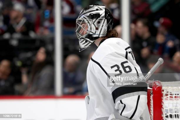 Jack Campbell of the Los Angeles Kings tends goal against the Colorado Avalanche at the Pepsi Center on January 19 2019 in Denver Colorado