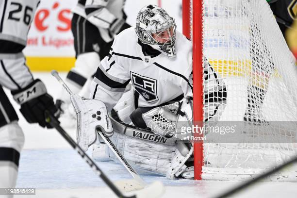 Jack Campbell of the Los Angeles Kings tends net during the first period against the Vegas Golden Knights at TMobile Arena on January 09 2020 in Las...