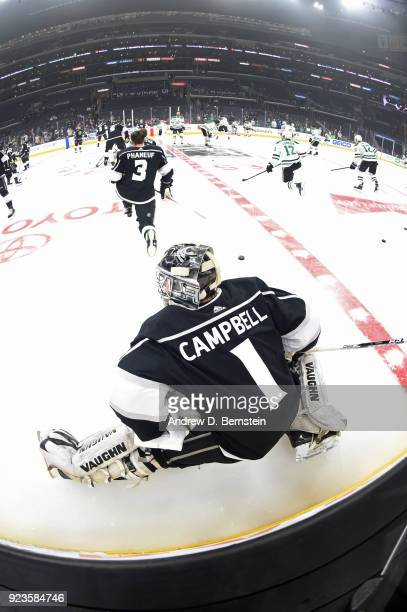 Jack Campbell of the Los Angeles Kings warms up before a game against the Dallas Stars at STAPLES Center on February 22 2018 in Los Angeles California