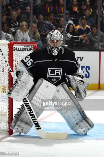 Jack Campbell of the Los Angeles Kings watches the play during the second period against the Buffalo Sabres at STAPLES Center on October 17 2019 in...