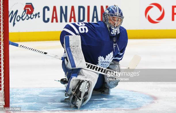 Jack Campbell of the Toronto Maple Leafs gets set to face the Anaheim Ducks in an NHL game at Scotiabank Arena on February 7 2020 in Toronto Ontario...