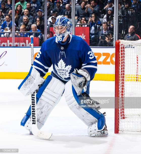 Jack Campbell of the Toronto Maple Leafs guards the net against the Arizona Coyotes during the second period at the Scotiabank Arena on February 11...