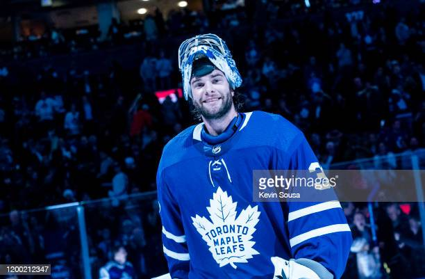Jack Campbell of the Toronto Maple Leafs reacts after receiving a star of the game after defeating the Arizona Coyotes at the Scotiabank Arena on...