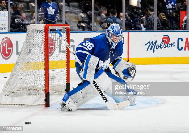 Jack Campbell of the Toronto Maple Leafs warms up before facing the Anaheim Ducks at the Scotiabank Arena on February 7 2020 in Toronto Ontario Canada