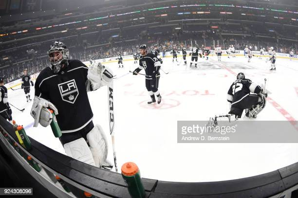 Jack Campbell Torrey Mitchell and Jonathan Quick of the Los Angeles Kings are seen before a game against the Edmonton Oilers at STAPLES Center on...