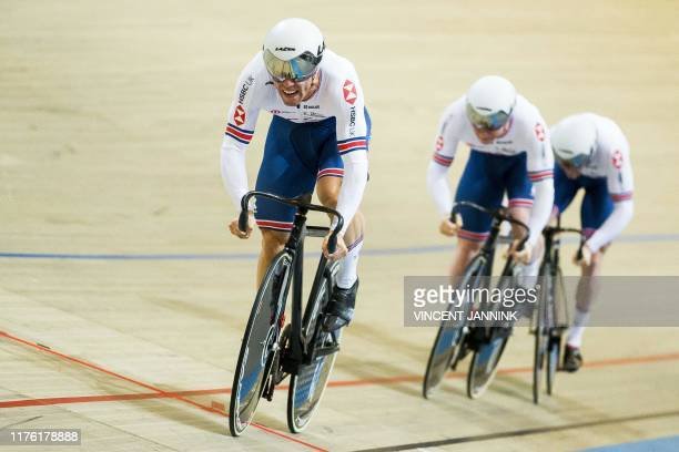 Jack Carlin, Jason Kenny and Ryan Owens of Great Britain rides during the qualification in the Men's Team Sprint at the European Championship track...