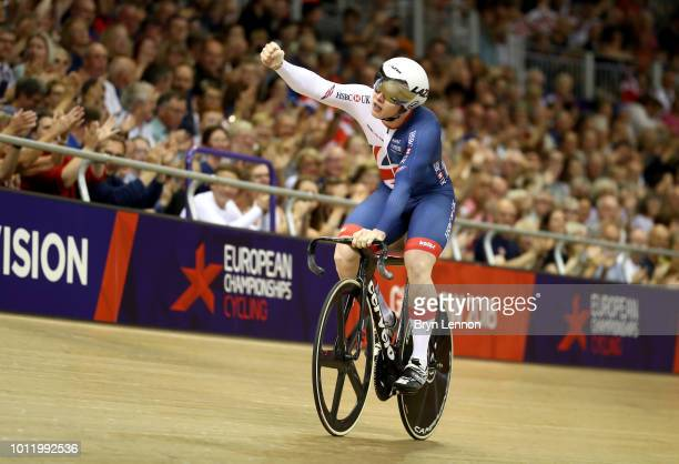 Jack Carlin of Great Britain celebrates after winning his heat in the Men's Sprint Quarter Finals during the track cycling on Day five of the...