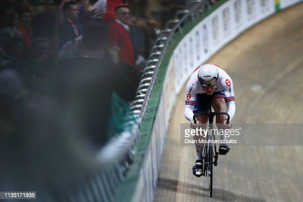 Jack Carlin of Great Britain competes in the Men's sprint qualifying race on day four of the UCI Track Cycling World Championships held in the BGZ...