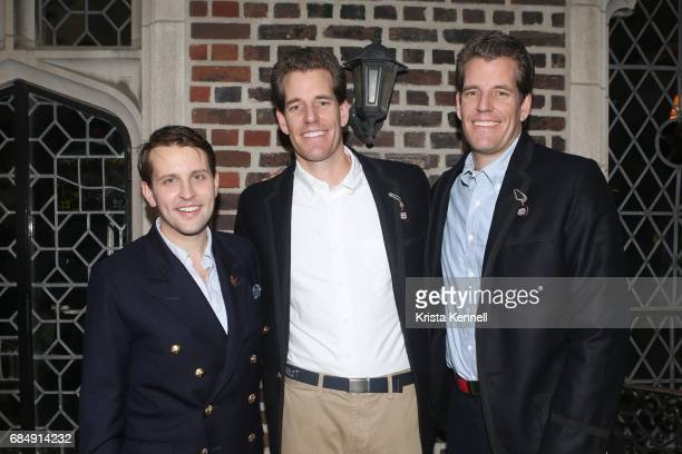 Jack Carlson Cameron Winklevoss and Tyler Winklevoss attend Rowing Blazers Menswear Collection Launch at The Explorer's Club on May 18 2017 in New...