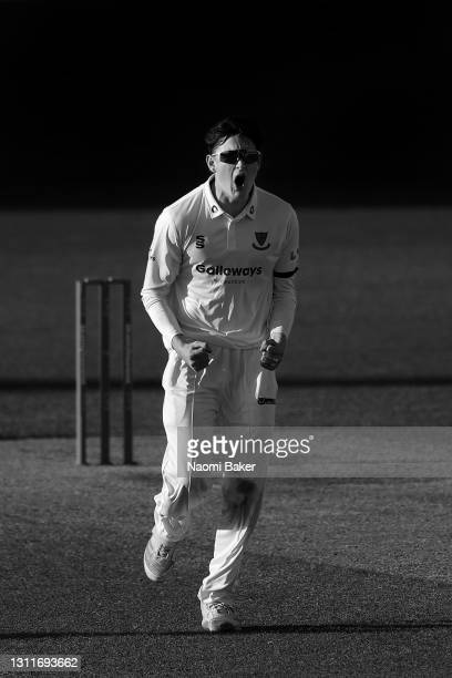 Jack Carson of Sussex celebrates during the LV= Insurance County Championship match between Sussex and Lancashire at Emirates Old Trafford on April...