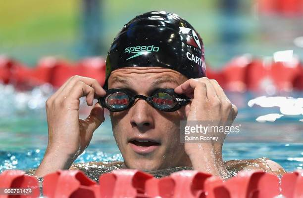 Jack Cartwright of Australia catches his breath after competing in the Men's 200m Freestyle during the 2017 Australian Swimming Championships at the...