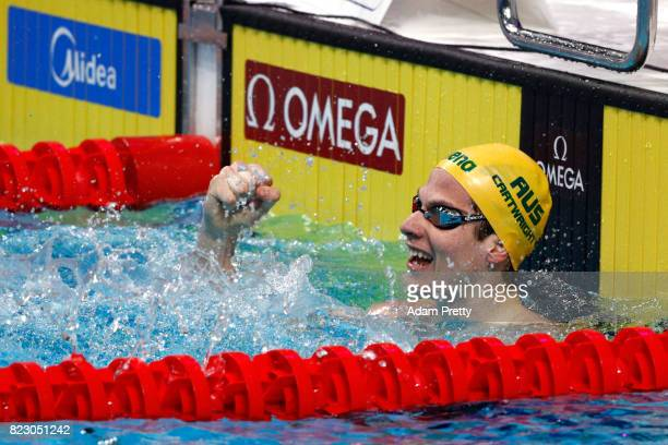 Jack Cartwright of Australia celebrates after victory during the Men's 100m Freestyle semi final on day thirteen of the Budapest 2017 FINA World...