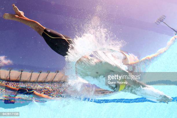 Jack Cartwright of Australia competes during the Men's 100m Freestyle Heat 6 on day three of the Gold Coast 2018 Commonwealth Games at Optus Aquatic...