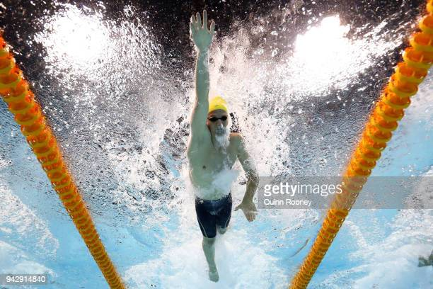 Jack Cartwright of Australia competes during the Men's 100m Freestyle Semifinal 1 on day three of the Gold Coast 2018 Commonwealth Games at Optus...