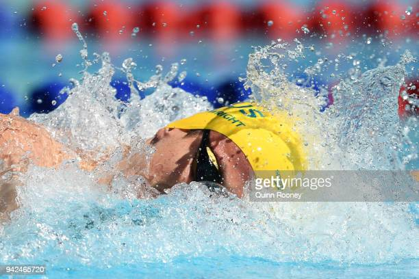 Jack Cartwright of Australia competes during the Men's 4 x 100m Freestyle Relay Heat 2 on day two of the Gold Coast 2018 Commonwealth Games at Optus...