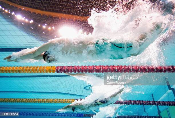 Jack Cartwright of Australia dives in to start the Men's 100m Freestyle during the 2017 Australian Swimming Championships at the Sleeman Sports...