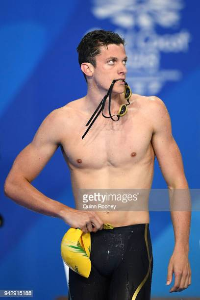 Jack Cartwright of Australia looks on following the Men's 100m Freestyle Semifinal 1 on day three of the Gold Coast 2018 Commonwealth Games at Optus...