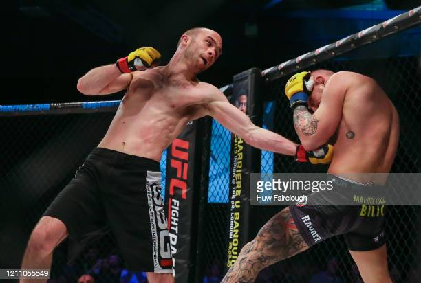 Jack Cartwright punches out Manuel Bilic during their Bantamweight Title during Cage Warriors 112 on March 7 2020 in Manchester England