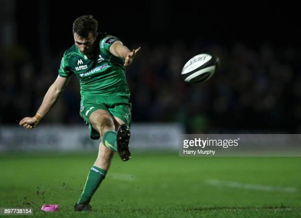 Jack Carty of Connacht kicks a conversion during the Guinness PRO14 match between Connacht and Ulster at Sportsground on December 23 2017 in Galway...