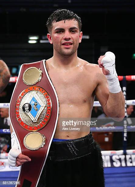 Jack Catterall celebrates after retaining the WBO Intercontinental SuperLightweight Championship against Joe Hughes on May 14 2016 in Bolton England