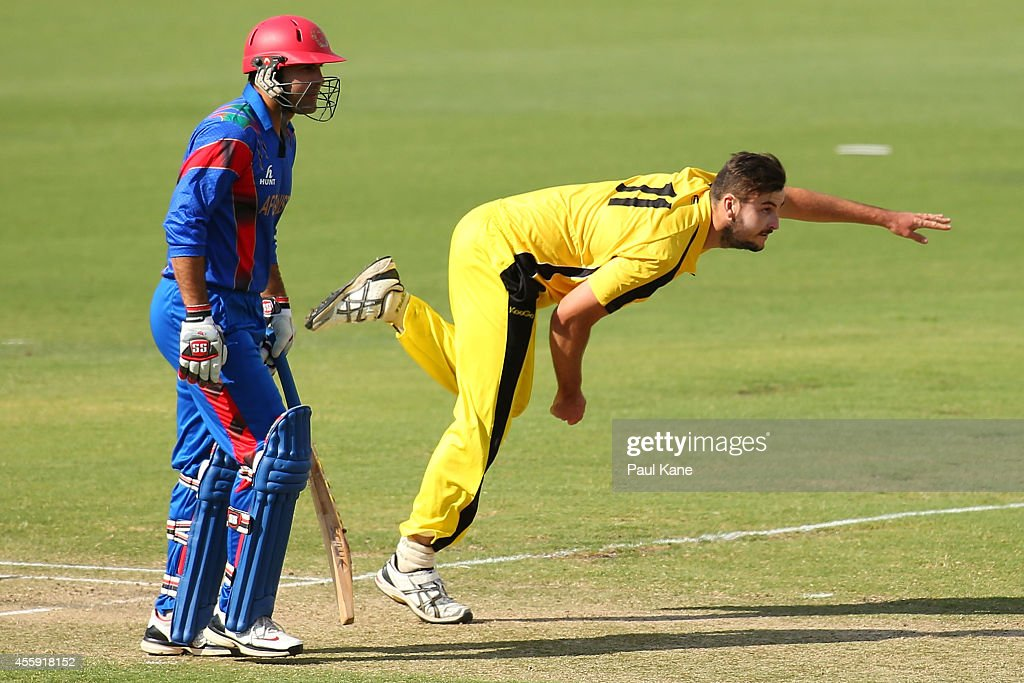 Jack Cattrall of the WA XI bowls during the One Day tour match between the Western Australia XI and Afghanistan at the WACA on September 22, 2014 in Perth, Australia.