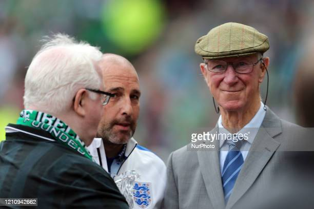 Jack Charlton is overwhelmed by the reception he is given by both sets of fans before the International Friendly match between the Republic of...