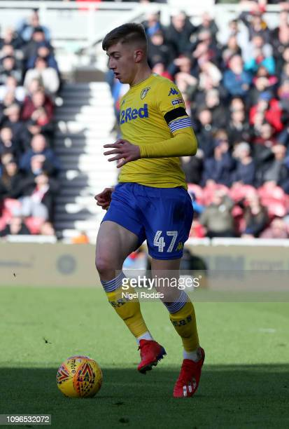Jack Clark of Leeds United during the Sky Bet Championship match between Middlesbrough and Leeds United at the Riverside Stadium on February 9 2019...
