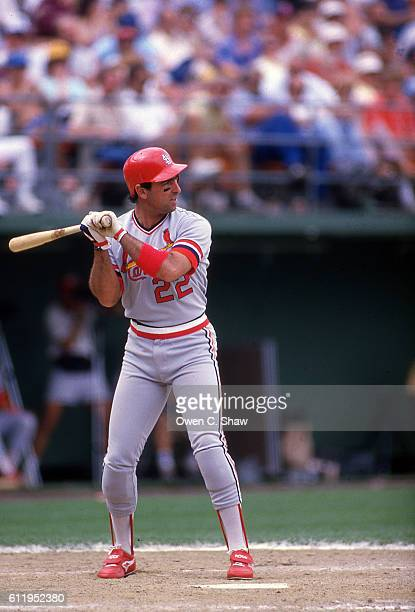 Jack Clark of the St Louis Cardinals circa 1987 bats against the San Diego Padres at Jack Murphy Stadium in San Diego California
