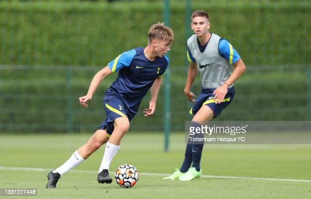 Jack Clarke and Maksim Paskotsi of Tottenham Hotspur during the Tottenham Hotspur pre-season training session at Tottenham Hotspur Training Centre on...