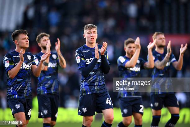 Jack Clarke of Leeds United acknowledges the fans following the Sky Bet Championship Playoff semi final first leg match between Derby County and...