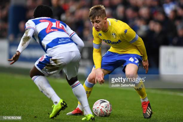 Jack Clarke of Leeds United and Osman Kakay of Queens Park Rangers during the FA Cup Third Round match between Queens Park Rangers and Leeds United...