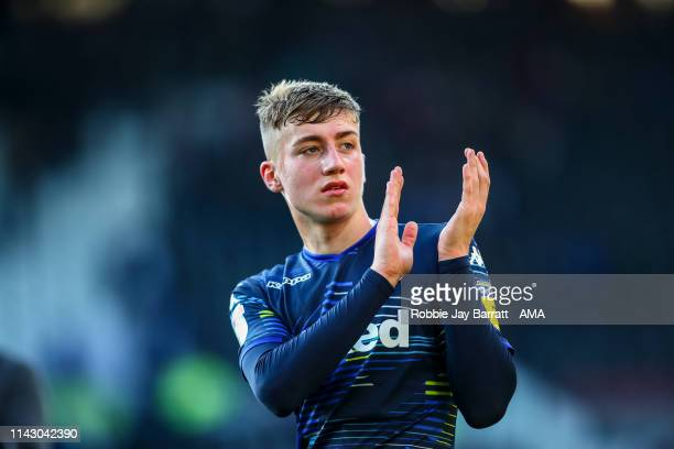Jack Clarke of Leeds United applauds the fans at full time during the Sky Bet Championship Playoff Semi Final First Leg match between Derby County...