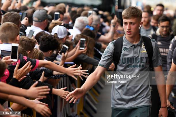 Jack Clarke of Leeds United arrives prior to the Sky Bet Championship match between Leeds United and Nottingham Forest at Elland Road on August 10...