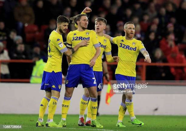 Jack Clarke of Leeds United celebrates his goal during the Sky Bet Championship match between Nottingham Forest and Leeds United at City Ground on...