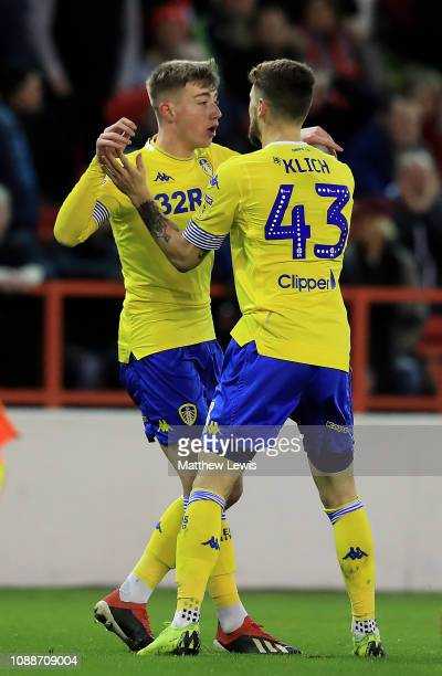 Jack Clarke of Leeds United celebrates his goal with Mateusz Klich of Leeds United during the Sky Bet Championship match between Nottingham Forest...