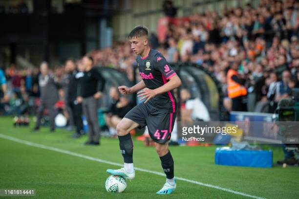 Jack Clarke of Leeds United during the Carabao Cup match between Salford City and Leeds United at Moor Lane Salford on Tuesday 13th August 2019