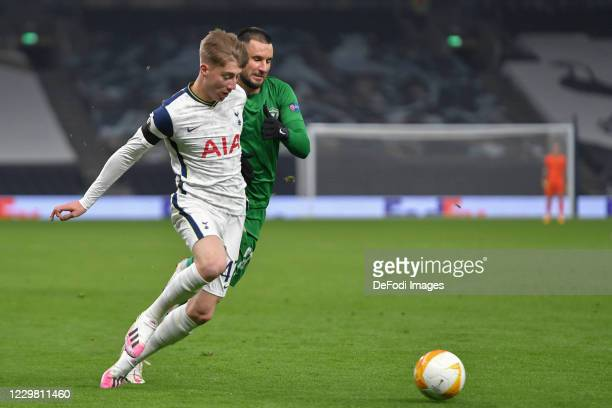 Jack Clarke of Tottenham Hotspur and Dragos GRIGORE of Ludogorets battle for the ball during the UEFA Europa League Group J stage match between...