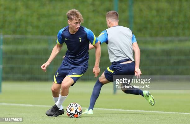 Jack Clarke of Tottenham Hotspur during the Tottenham Hotspur pre-season training session at Tottenham Hotspur Training Centre on July 29, 2021 in...