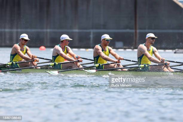 Jack Cleary, Caleb Antill, Cameron Girdlestone and Luke Letcher of Team Australia compete during the Men's Quadruple Sculls Heat 1 on Day 0 of the...