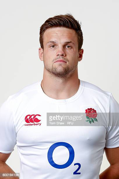 Jack Clifford of England poses for a portrait during the England Elite Player Squad photo call at The Lensbury on August 7 2016 in Teddington England